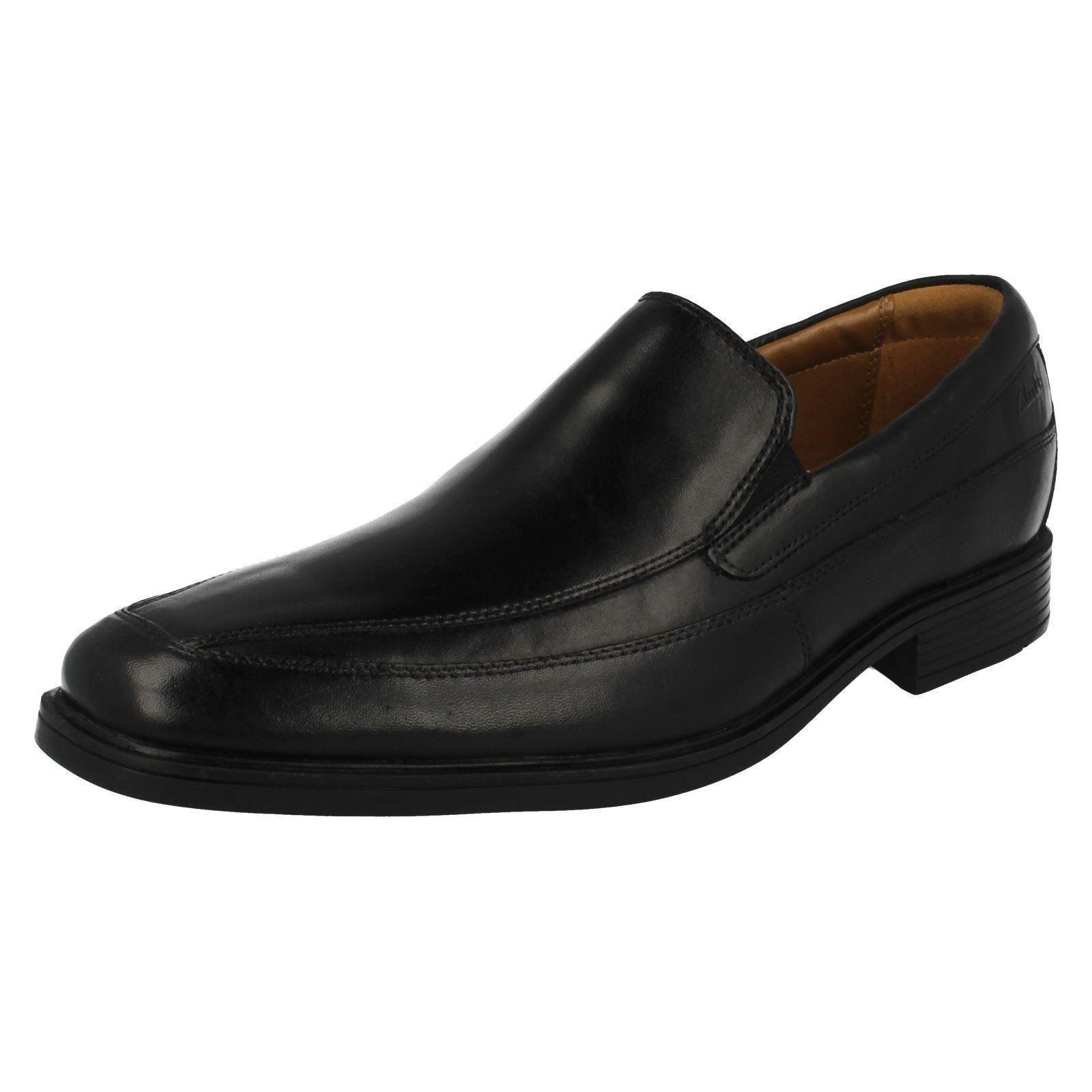 Clarks Tela Tilden Free  Cuero Negro Tela Clarks Deslizable Cómodo Calzado Informal d07ed2