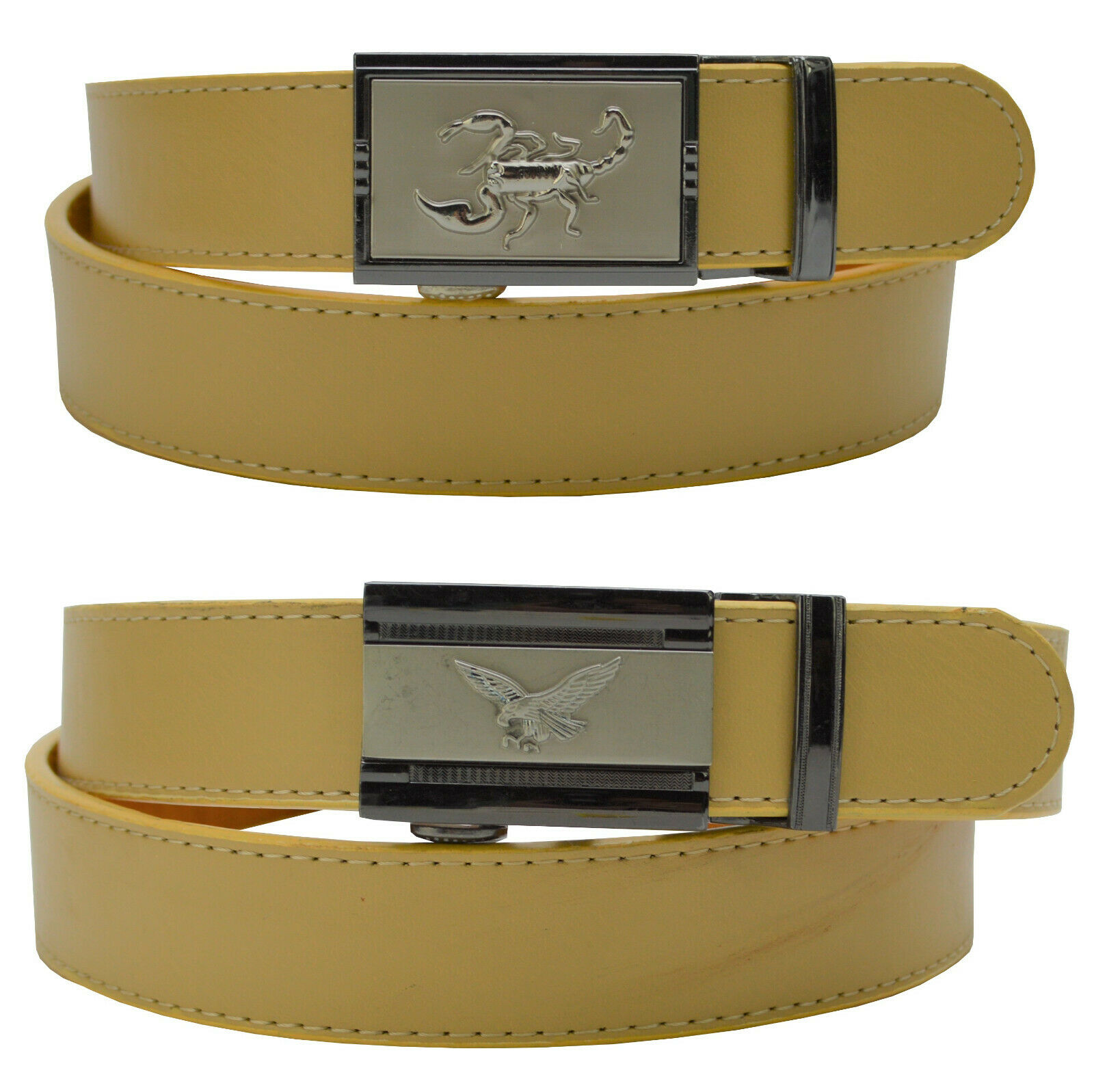 2er Set Men's Automatic Belt 105 - 125 cm beige 3,0 B-Ware with Buckle