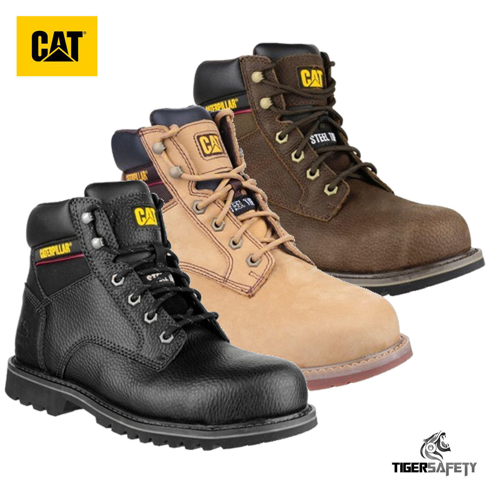 Caterpillar CAT Electric 6  SB SRA Mens Leather Steel Toe Cap Safety Boots PPE