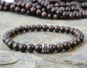 A93-Herren-Armband-Holz-Perlen-6-mm-Edelstahl-Tribal-Boho-Mala-Buddha-Yoga