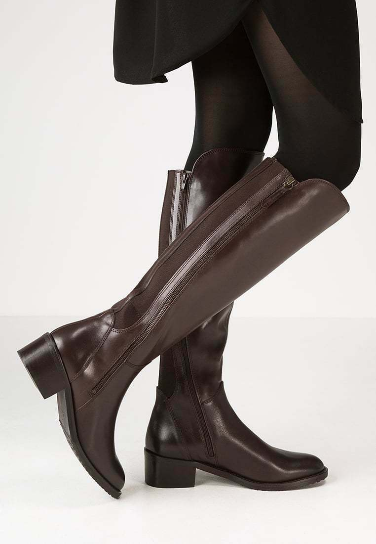Clarks Ladies Knee-High Boots Valana Melpink Dark Brown Leather UK 4.5 Wide Fit