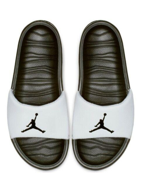 NIB MEN Nike Air Jordan BREAK Slides Sandal Logo Jumpman BLACK WHITE Size 8