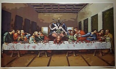"Satanic Last Supper GIANT WIDE 24x42"" Poster Evil Art Devil Decapitated Baphomet"