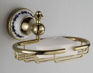 Golden-Brass-Porcelain-Base-Wall-Mount-Bathroom-Soap-Dish-Holder-Basket-qba253