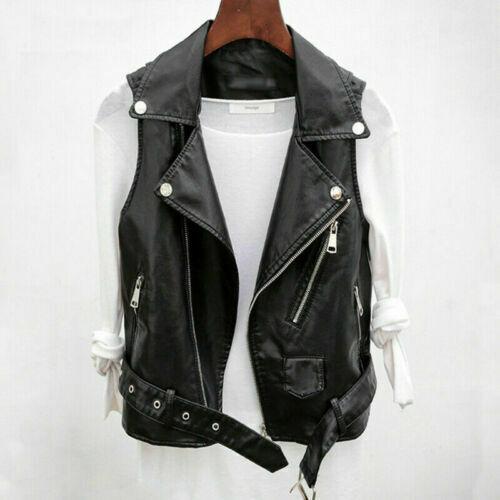 Vintage Women's Real Leather Black Color Waistcoat Gilet Biker Sleeveless Jacket