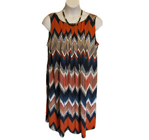Perceptions Sleeveless Knit Dress Plus Size 20W 1X Pleated Shift Navy Orange
