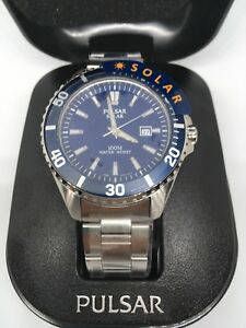 c3034faae Pulsar PX3033X1 Men's Diver Style Stainless Steel Solar Powered ...