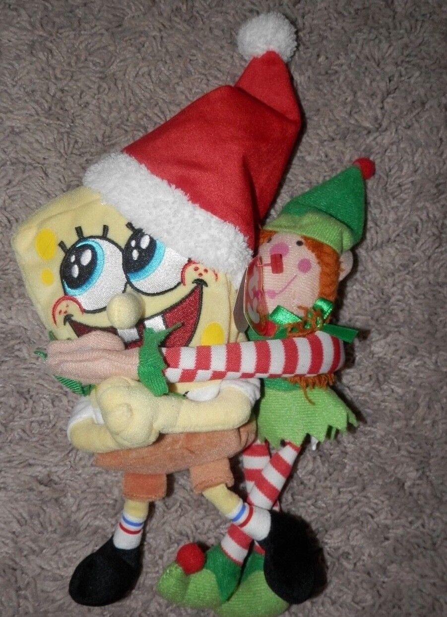 SPONGEBOB SQUAREPANTS jolly elf Plush STUFFED ANIMAL Toy 9  2004 with an elf