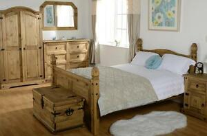 Bedroom-Set-Corona-Wardrobe-Drawer-Chest-Bed-Single-Double-King-Mexican-Pine