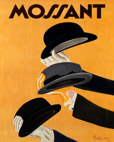 POSTER MOSSANT HATS FRENCH HAT MEN/'S FASHION FRANCE VINTAGE REPRO FREE S//H