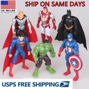 6PCS The Avengers Hulk//Iron Man//Batman//Captain//Superman Action Figure Kids Toy