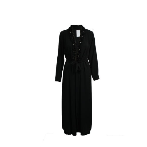 Womens Ladies Belted Open Front Cardigan Ruched Pearls Neck Dubai Abaya Jilbab