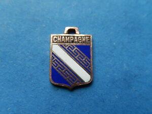 Medaille pendentif  BLASON VINTAGE ARMOIRIE VILLE EMAILLE CHAMPAGNE REGION