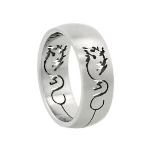 Surgical Stainless Steel 8mm Spinner Wedding Band Ring Domed Matte Center Sizes 7-14