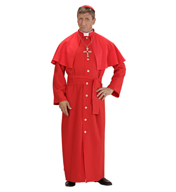 CARDINAL FANCY DRESS COSTUME RED HEAVY FABRIC RELIGIOUS S-XL DELUXE QUALITY