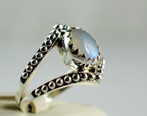 Z 1//2 UK Rainbow Moonstone 925 Solid Sterling Silver Handmade Ring Size F