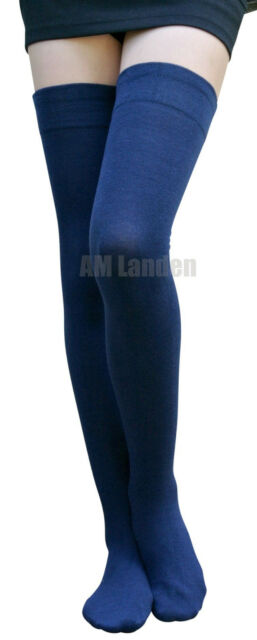 099c0310025 Navy Blue Cotton Thigh High Socks   Warm US Size 2-6 for sale online ...