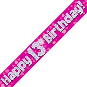 9ft Perfectly Pink Happy 16th Birthday Foil Banner Girls 16 Party Decoration