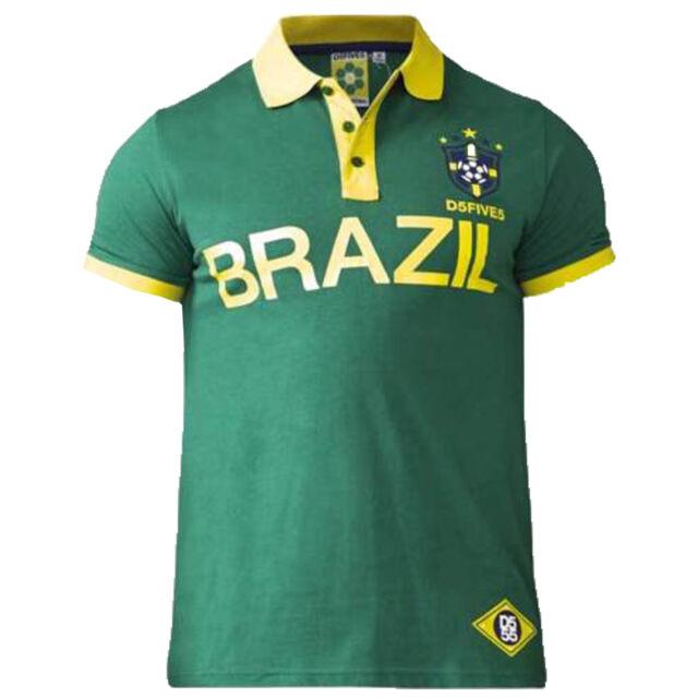 D555 Silva Brazil Polo Shirt Mens Gents Classic Fit Tee Top Short Sleeve Cotton