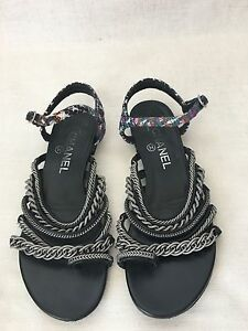 b07df5fd6190ad CHANEL 15S Black Blue Tweed Leather Thongs Chain Toe Ring Sandals ...
