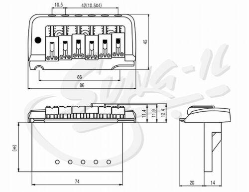 Tremolo mit Zwei-Punkt Aufhängung ML-Factory® black Saitenab.10,5mm