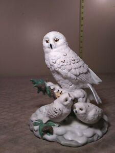 Vintage-Ceramic-Snow-Owl-w-Chicks-7-034-H-x-6-034-W-excellent-condition