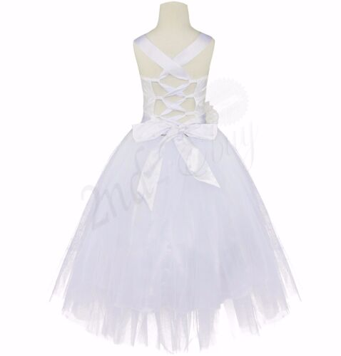 US Girls Kids Crossed Back Bridesmaid Wedding Pageant Party Flower Girl Dress