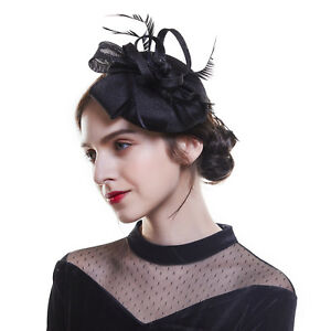 Details about Women s Derby Party Church Fascinators Hair Clips Wedding  Small Hat Party Ascot 2c7506810e3