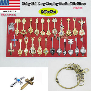 24pc-set-Anime-Fairy-Tail-Lucy-Cosplay-Keys-Necklace-Pendant-Keychain-Alloy-Gift