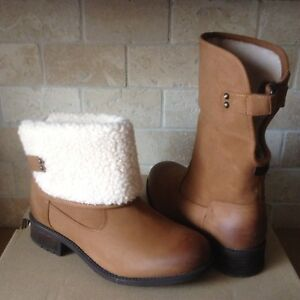 ae448e80b5c Details about UGG Aldon Chestnut Leather Sheepskin Cuff Ankle / Short Boots  Size US 6 Womens