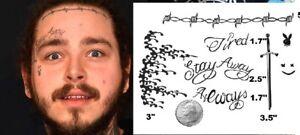SHIP FROM NY - temporary tattoo - Post Malone Face Tattoos / Rapper Tattoos