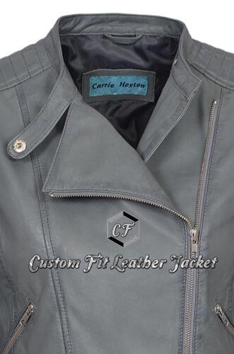 Quality Jessica Ladies Washed Leather Jacket High Real Napa Style Biker Grey KAFqvrqWIy