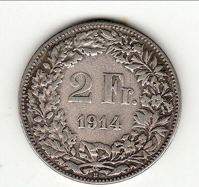 Streng 2 Francs Suisse 1914 Bel état Type Wees Vriendelijk In Gebruik