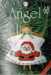 Clothespin-Angel-Ornament-with-Santa-on-Dress-Counted-Cross-Stitch-Kit-NEW