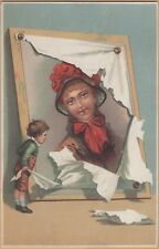 Large Victorian Trade Card-Remer's Tea Store-Syracuse, NY-Boy Unveiling Portrait