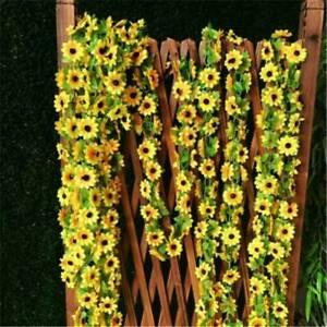 2-6M-Artificial-Sunflower-Garland-Silk-Flower-Vine-Wedding-Home-Decorations-AU