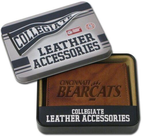 CINCINNATI BEARCATS Genuine Leather Tri-Fold Wallet Gift Tin Box--FREE Shipping
