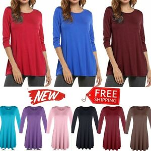 USA-NEW-Womens-3-4-Sleeve-Tunic-Top-Dress-Round-Neck-Blouse-S-M-L-Plus-1X-2X-3X
