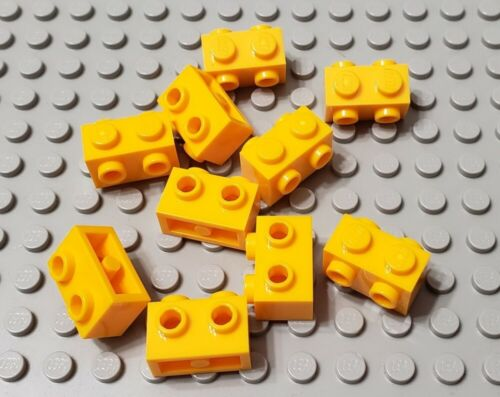 LEGO New Lot of 10 Bright Light Orange 1x2 Bricks Studs on Both Sides