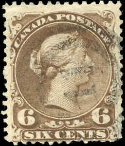 1868-Used-Canada-F-Scott-27-6c-Large-Queen-Issue-Stamp