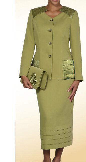 Damen 2-tlg Anzug, Kommt mit Jacke und Langer Rock, Olive Farbe  L391