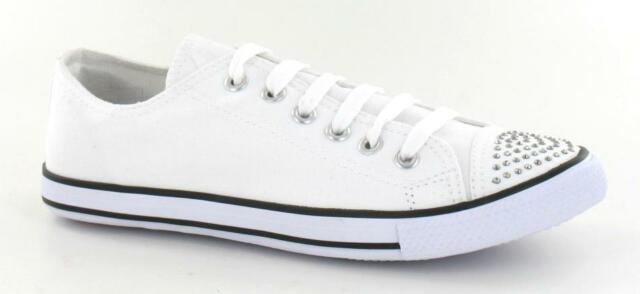 Spot On F8955 Ladies Black Lace Up Casual Canvas Sneaker Shoes