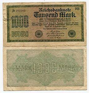 Details about German Old 1923 Banknote 1000 Mark Reichsbanknote Paper Money