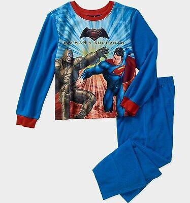 Batman vs Superman Pajamas 4 5 6 7 8 10 12 Boys 2 Piece Flannel Set Sleepwear Nw