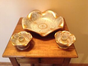 Vintage-Stangl-Pottery-mint-green-gold-large-centerpiece-bowl-and-candle-holders