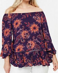 Evans-ladies-blouse-top-plus-size-16-30-bardot-purple-orange-boho-floaty