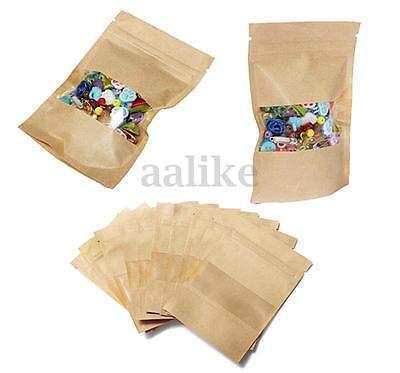 10/30/50/100PCS Stand Up Kraft Paper Zip Lock Bag Window Kraft Zipper Pouch