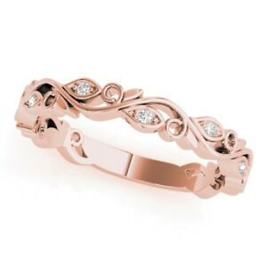 Image Is Loading New Las 14k Rose Gold Diamond Vine Leaf
