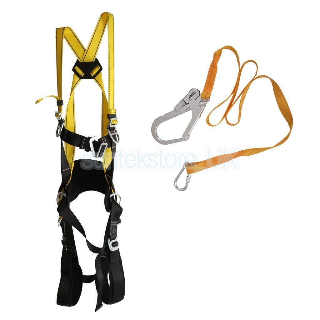 Safety Fall Predection Restraint Kit Full Body Harness & Lanyard Adjustable