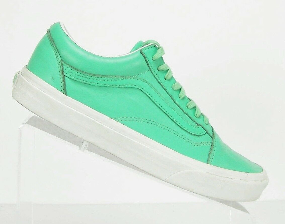 VANS Off The Wall Old Skate Skool Ice Green/Blanc Leather Skate Old Women's Size 9.5 Men 8 fa6097